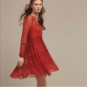 Anthropologie Maeve Red Canna Swing Cocktail dress